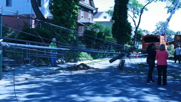 Electric lines on the pavement in Queens.